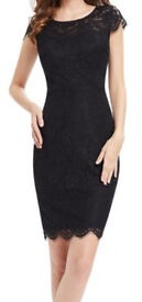 Lacy Black Cocktail Dress, just above knee, size 8