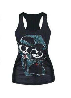 Brautpaar Tank Top XS/S/M 34/36/38 Friedhof Halloween Trägertop Shirt Gothic ()