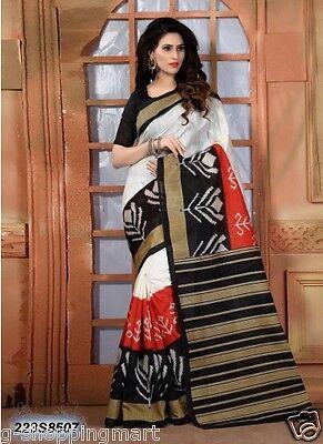 Cotton Silk Printed Bollywood Saree Party Wear Indian Pakistani Designer Sari