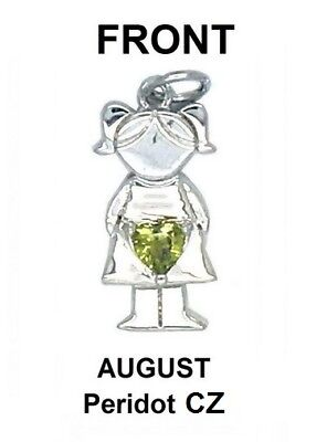 - Fine Silver Plated GIRL Pendant w/ Peridot-Color Heart CZ August Birthstone