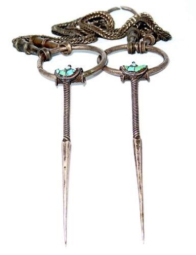 Antique Pair of fibulae silver w. turquoises & heavy silver chain Bhutan 1800