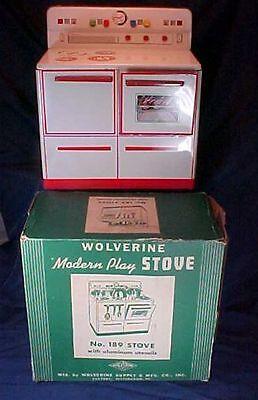 Vintage Metal Wolverine Play Stove in Original Box Toy Stove
