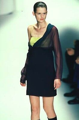 NWT GIANNI VERSACE – Vintage RARE 1997 Colorblock COUTURE Dress – Size 40
