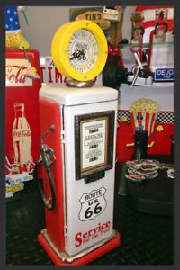 Vintage replica gas pump cabinet & clock