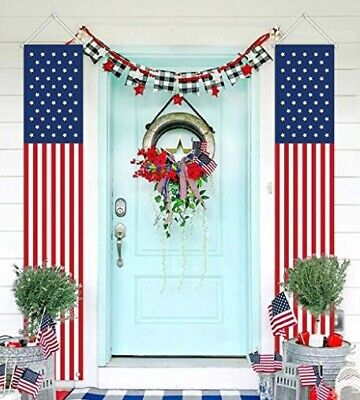 Set of 2 Patriotic American Flag Banners Vertical Bunting Yard 4th of July Decor - 4th Of July Bunting Decorations