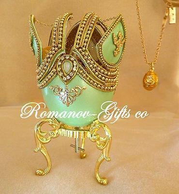 Russian Imperial Butterfly Music Box Egg w/inner gold Faberge Necklace