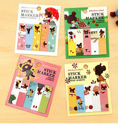 Lot 4pcs Kawaii Cute Bear Memo Pad Korean Stationery Sticky Notes Index Tab Flag