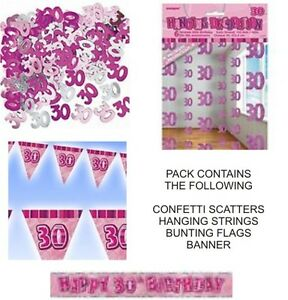 30th birthday party decorations pack pink banner flags for 30th birthday decoration packs