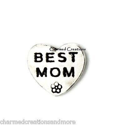 10pc Lot Best Mom Heart Flower Floating Charm For Memory Glass Locket