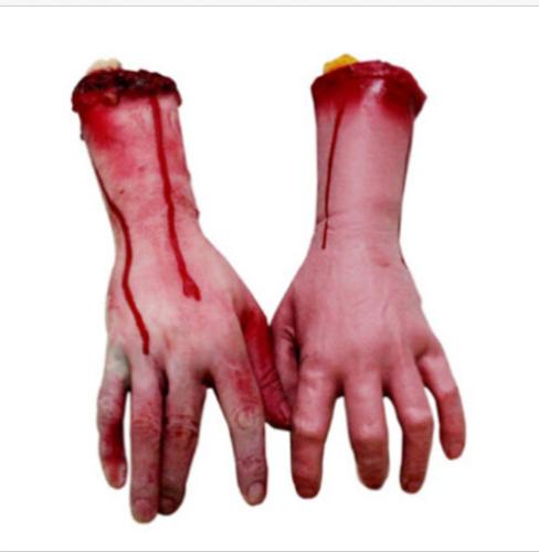 Blutige Abgetrennte Hand Körperteile Halloween Deko Grusel Horror linke Hand NEU