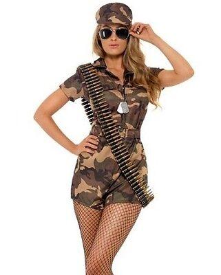 Erwachsene Tarnfarbe Armee Mädchen Soldat Kostüm Sexy Damen Neu Smiffys