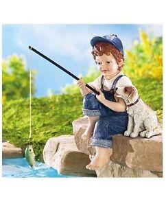 Little boy fishing puppy dog garden statue rock sitter for Little boy fishing statue