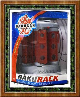 NEW Bakugan Bakurack Storage Case Rack Silver Red Clips