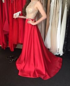 Stunning Elegant Prom Dress / Evening Gown - nude/red