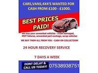 WANTED! Cars,vans,4x4 etc for instant cash