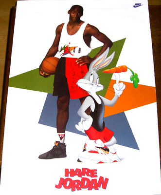 9ff993929ebb Vintage Michael Jordan HARE JORDAN (1992) Nike Air Jordan Poster w Bugs  Bunny