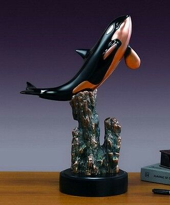 Ocra Killer Whale 12 x 18 Stunning  Beautiful Bronze Statue / Sculpture New