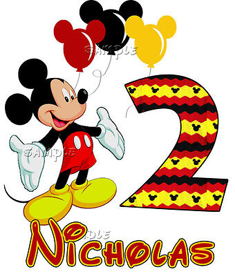 Mickey Mouse Balloons Birthday PERSONALIZE Add Name and Number Custom T-shirt - Mickey Mouse Custom