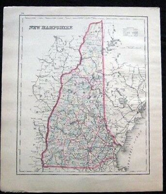 1882 ORIGINAL MAP OF NEW HAMPSHIRE HAND COLORED
