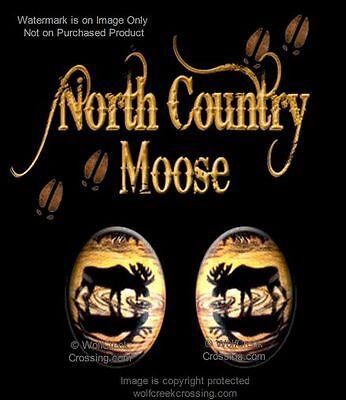 NORTH COUNTRY MOOSE EARRINGS - WILDLIFE ART - STUD POST PIERCE STYLE - FREE -