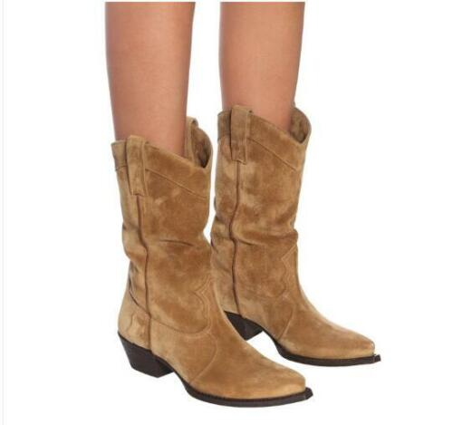 Women/'s Fashion Suede Leather Mid Heel Western Cowboy Mid Calf Boots Shoes new