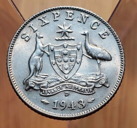1943 D (UNC) AUSTRALIA King George VI Sixpence World Silver Coin