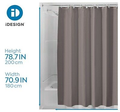 iDesign Waterproof Long Stylish Shower Curtain Polyester Liner Brown/Taupe - New