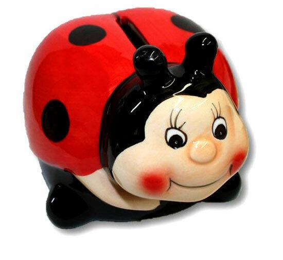 Lucky Ladybug Ceramic Piggy Bank Coin Money Savings Holder Child Bedroom Decor