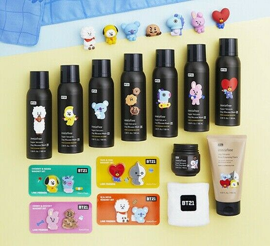 2019 BT21 Innisfree Super Volcanic Clay Mousse Mask 2X BTS P