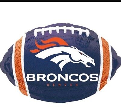 Five Denver Bronco Nfl Football Shaped Mylar Balloons - Mylar Football Balloons