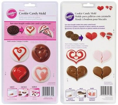 Wilton Heart Cookie Candy Mold- Lot 2 Chocolate Dipped Sandwich Cookie