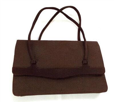 1940s Handbags and Purses History Brown Handbag Vintage 1940s Corde Fabric Top Handle Snap Closure Made in Italy $40.00 AT vintagedancer.com