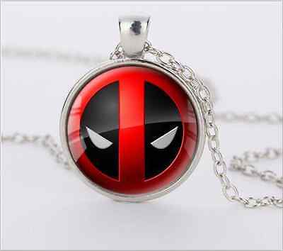 Deadpool Cabochon Glass silver necklace for women men Jewelry