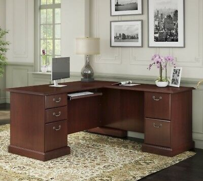 Cherry Brown Corner Desk Executive Desks L-shaped Home Office Furniture Bush New