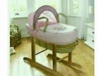 Kinder valley my little rocker moses basket. Pink. Brand new. 3 left in stock.