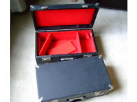 CASES WITH HANDLES. TWO SMALL BLACK COVERED WOODEN CASES WITH HANDLES