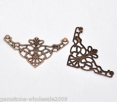 50PCS Wholesale Lots Craft Copper Tone Filigree Triangle Wraps Connectors GW