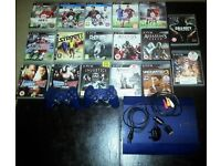 SONY PLAYSTATION 3 SUPERSLIM IN BLUE WITH TWO REMOTES