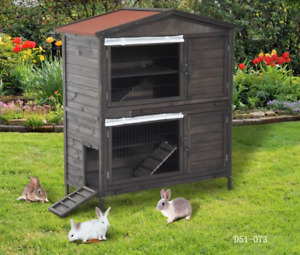 2-Tier Rabbit & Guinea Hutch Wooden Small Animal House Pet Cage