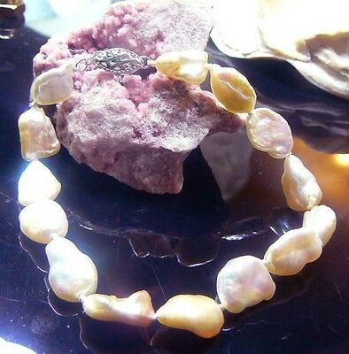 Rainbow Keishi Pearl 14k Gold Bracelet High Luster Natural White Cream Color