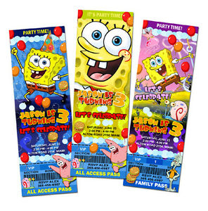 SPONGEBOB-BIRTHDAY-PARTY-INVITATION-TICKET-SPONGE-BOB-1ST-c2-cards-customizable
