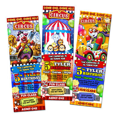 6 New Desings ! CIRCUS CARNIVAL CLOWN BIRTHDAY PARTY INVITATION TICKET invites 4 on Rummage