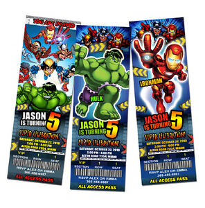 SUPER HERO SQUAD BIRTHDAY PARTY INVITATION TICKET 1ST CUSTOM INVITES
