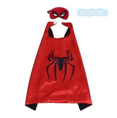 Kids Teenage Adults Spider-man Spider-Girl Cape&Mask Superhero Costume Accessory