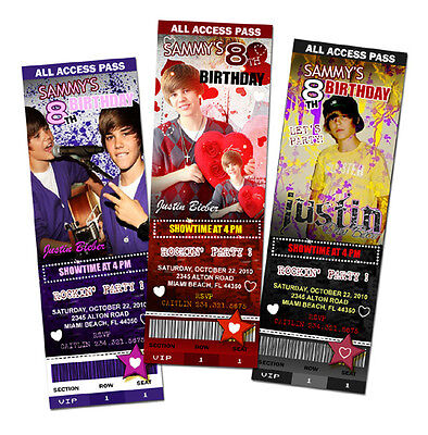 JUSTIN BIEBER BIRTHDAY PARTY INVITATION TICKET PHOTO INVITES personalized - c3 - Justin Bieber Invitations
