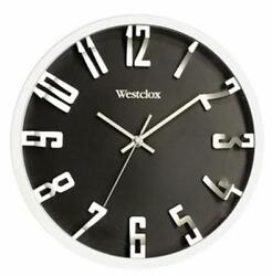 Westclox 12 Inch Round Quartz Wall Clock in Silver and Black with 3D Numerals