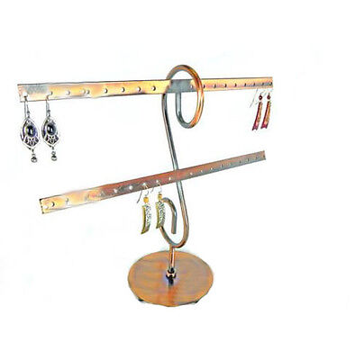 Copper Metal 16 Pr. Earring Display 2 Bar Stand Countertop Jewelry Earrings