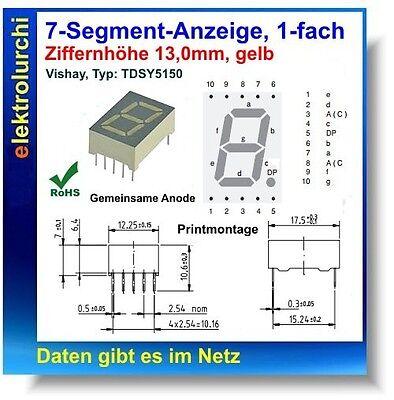 7-Segment-Anzeige, 1-fach, gelb, 13mm, gemein. Anode, VISHAY Typ: TDSY 5150, 1St