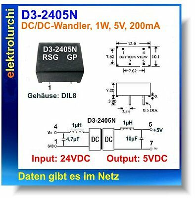 SIM1-2405, DC/DC-Wandler, DIL8, 1W, In:24V /Out:5V, D3-2405N, 1St
