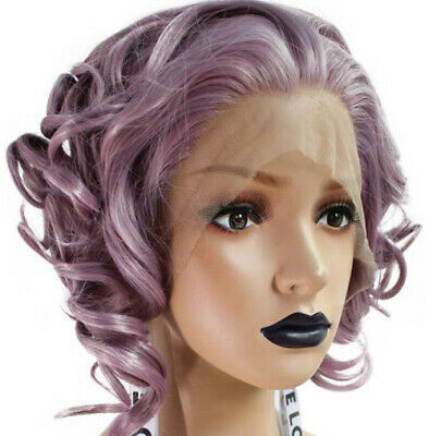 ATOZ Synthetic Lace Front Wig Purple Short Bob Wavy Body Wave Wig for Sexy Women](Purple Bob)